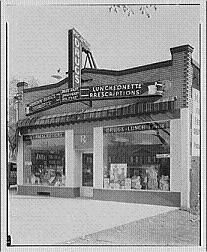 Traditional drugstore entrance from the 1940